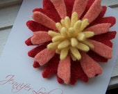 Repurposed Felted Wool Brooch - Coral Yellow Aster