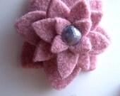 Repurposed Felted Wool Brooch - Pink Lotus