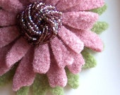 One Of A Kind - Repurposed Felted Wool Brooch - Pink Purple Daisy