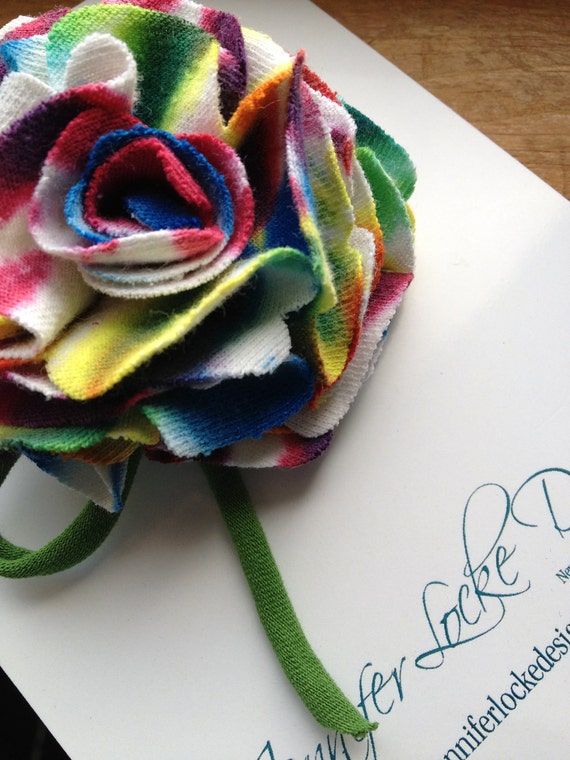 50% OFF SALE - Reclaimed Cotton Brooch - Bright Rainbow Rose - One Of A Kind