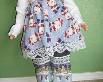3T 2pc Christmas santa dress top with jeans