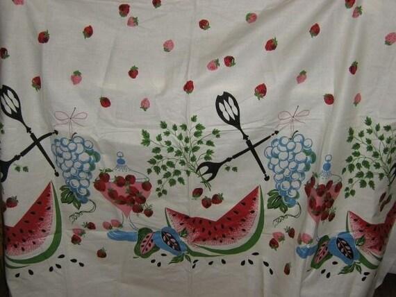 1950s Watermelon Strawberry Grapes Border Fabric