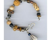Sterling Silver and Bead Bracelet \/ Brangle with Thai Silver Bug