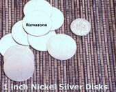 1 inch Nickel Silver Discs disks 22 gauge - Hand stamping Supply - 10 per SET -