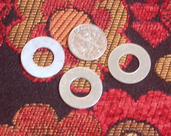 Sterling 22 ga .75 inch washers set of 3 for hand stamping - 19mm with a 5mm stampable area