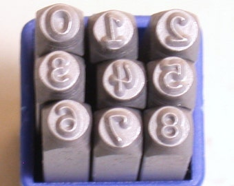 3mm Fancy hand print number Stamps, steel number set, quality numbers, stamp on metal, stamp dates, number stamping set,
