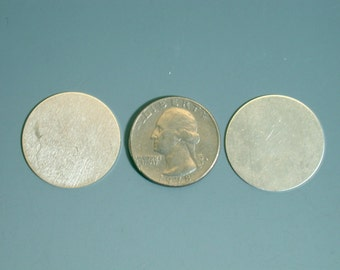 2 - 22 gauge sterling silver round blanks 1 inch for jewelry stamping