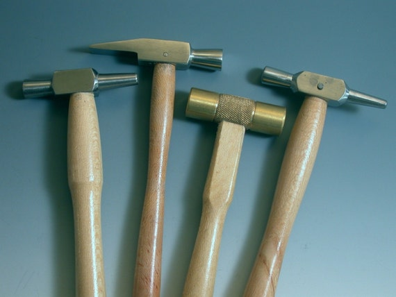 Set of 4 texturing and riveting tapping Hammers for Silver Working