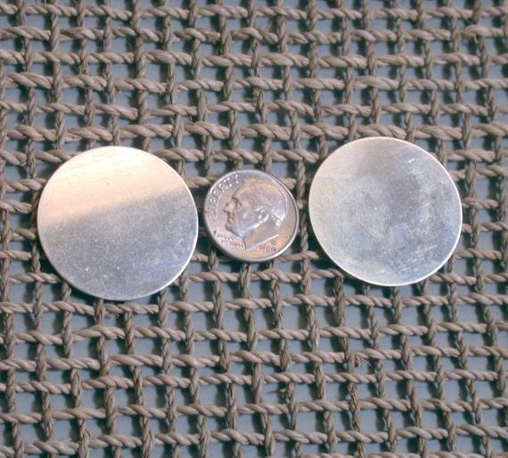 2 sterling silver 26 gauge round blanks or disks 1 1/8 inch