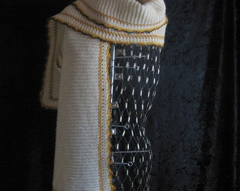 Woolen Scarf Shawl Cream and Gold
