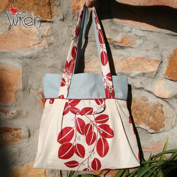 Red Olive Leaf and Misty Blue Big Town Bag
