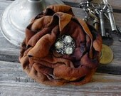 Suede Leather Rose Flower Brooch Pin Tobacco Rust at Mano Bello