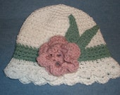 Sweet little hats  crocheted with flowers