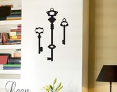 Three Old Vintage Keys Wall Decal - Key Wall Stickers - Silhouette Wall Decals - Customize Your Entry Way, Office - Vintage Wall Decals