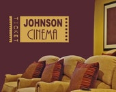 Personalized Home Movie Theater Vinyl Wall Decal • Large Wall Decal for Home Cinema Family Room • Customize Theater Wall Decal