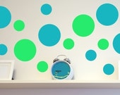 Circle Wall Decals - Vinyl Wall Decals in Two Sizes - 16 Seeing Spots Solid Circles - Choose 2 Colors