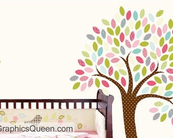 Tree Wall Decal with Owl on Branch • Removable Reusable Fabric Wall Decal • Pink Blue Green • Cute Woodland • Girl Bedroom Nursery Playroom