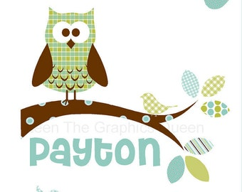 Owl Wall Decal with Customized Name - Repositionable Fabric Decal in Greens and Blues - Eco friendly & Child Safe CPSIA Compliant