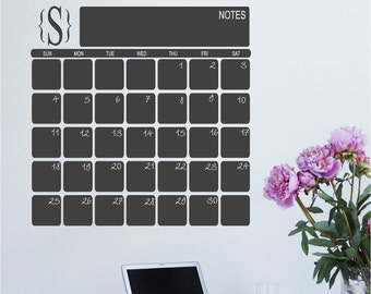 Chalkboard Calendar Wall Decal with Monogram - Perpetual Calendar - Vinyl Chalkboard Wall Calendar - Eco friendly Child Safe CPSIA Compliant