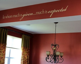 To Whom Much Is Given Much is Expected Wall Decal • Inspirational Wall Decal • Thankful Wall Decor • Dining room • Religious Wall Decal