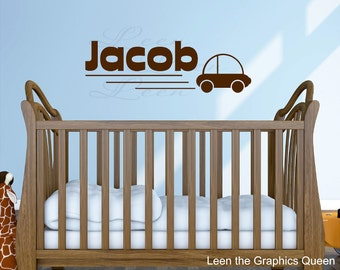 Name with Car Vinyl Wall Decal • Simple Customized Personalized Wall Decal for Boy Room Nursery • Car and Name Wall Sticker
