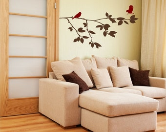 Birds on Branch Wall Decal • Love Returns • Tree Branch Wall Decal with Cute Birds • Sitting Room Family Den Office Reading Nook Sunroom