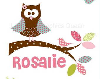 Owl Name Wall Decal with Birds in Pinks and Purples - Repositionable Fabric Decal - Eco friendly & Child Safe CPSIA Compliant Nursery Decor