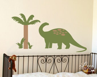 Dinosaur and Palm Tree Wall Decal Set • Brontosaurus with Palm Tree Wall Stickers • Kids Bedroom Playroom Nursery • Prehistoric Dino Theme