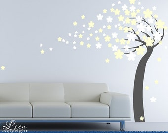 Flower Tree in the Wind Vinyl Wall Decal • Spring Flowering Tree Blowing in the Wind Vinyl Wall Decal • Custom Wall decal