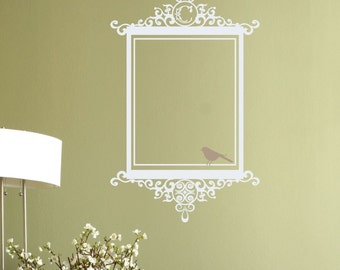 Monogram Antique Scroll Frame & Bird Wall Decal • Picture Frame Wall Decal • Rectangle Wall Decal with Bird Accent • Monogram Wall Decal