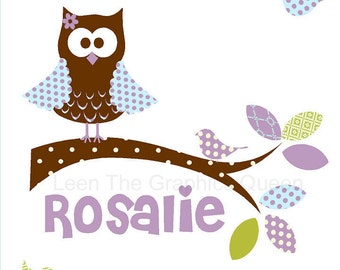 Owl Name Wall Decal with Birds in Purples and Pinks - Repositionable Fabric - Cute Woodland Nursery Owl Decor - Eco friendly & Child Safe