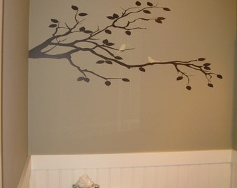 Bird Duo on Tree Branch Vinyl Wall Decal • Custom Removable Birds on a Branch Wall Art • Nature Birds Tree Wall Decal • Made in the USA