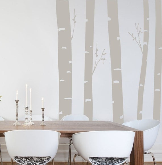 8 Foot Tall Birch Trees In The Woods Wall Decal