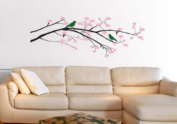 Cherry Blossom Tree with Birds Vinyl Wall Decal