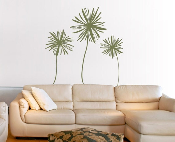 Three Large Flower Wall Decals