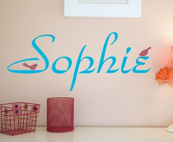 Name with Little Birds Vinyl Wall Decal Sticker
