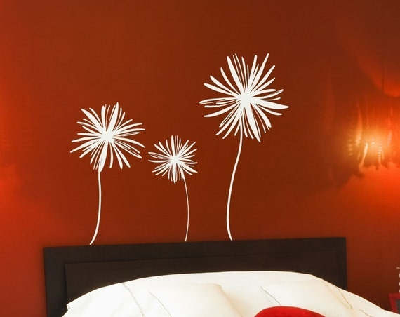 Three Flower Wall Decal • Large Wall Decal 3 Flowers • Custom Wall Decal to Personalize Space
