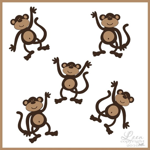 Five Monkey Wall Decals - Cute Monkey Jungle Theme Vinyl Wall Stickers in Your Choice of Colors - Kids Bedroom Playroom Nursery