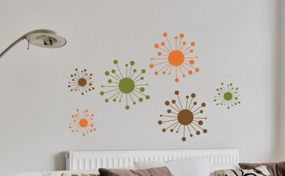 Wall Decals Set Retro Funky Starbursts Wall Decals - Retro Vinyl Removable Star Wall Decal