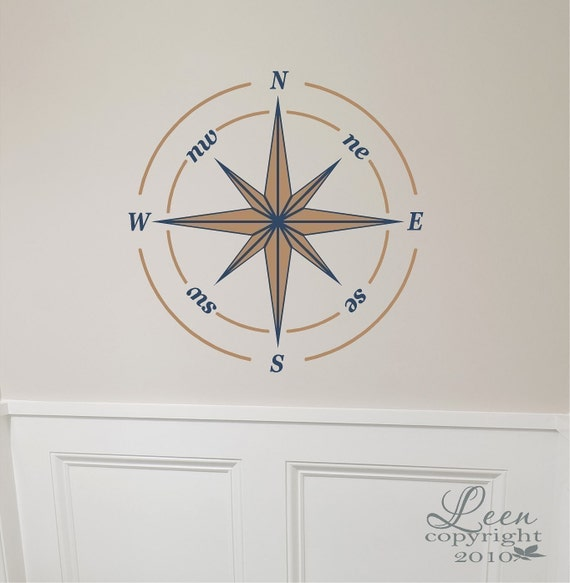 Nautical Compass Rose Decal - Removable Vinyl Wall Decal compliments Seaside Beach Decor in your home or a vacation home
