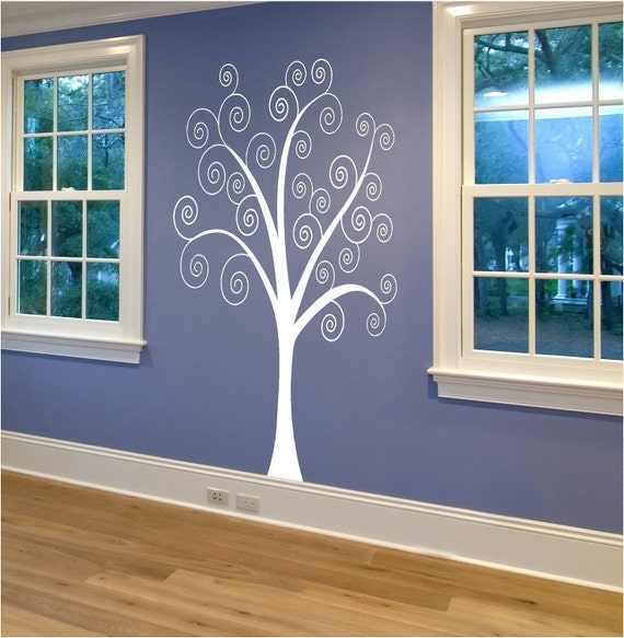 Large Curly Tree Wall Decal - 6 foot Tree Decal - Fancy Wall Decor - Customize Playroom Nursery Kids Room for Boys Girls Teens