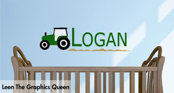 Tractor Wall Decal with Childs Name - Customized Wall Decal with Your Choice of Colors - Decorate with Removable Wall Friendly Decals