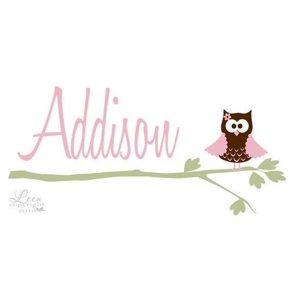 Adorable Girl Owl on Branch Name Wall Decal • Owl Wall Decal • Girl Room Wall Decals • Pink Green Brown • Nursery Playroom