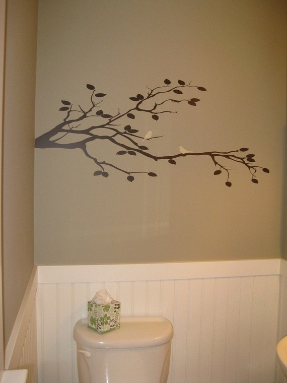 Bird Duo On Tree Branch Vinyl Wall Decal Custom Removable