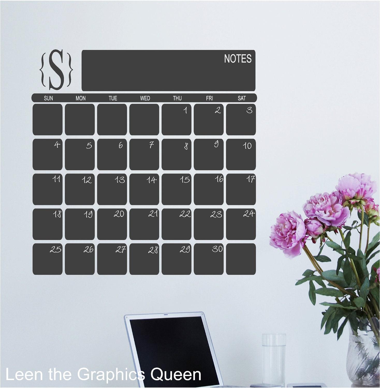 Chalkboard Calendar Decal : Chalkboard calendar wall decal with monogram perpetual