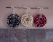 Red, White and Blue Fabric 6 inch Wreaths -- No Hooks