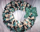 Turquoise and Brown Fabric 14 inch wreath