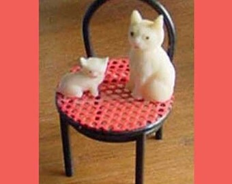 Cats - Miniature Chair with Cats  -  Tiny Miniature Cats Sitting on A Tiny Chair..So cute