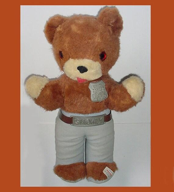 Smokey Bear Teddy Bear By Ideal Toy Corp. - U.S.A. Made-Cute One