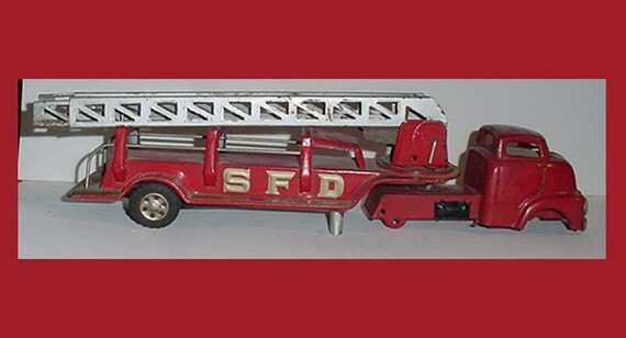 Antique Metal Fire Truck Two Piece - Exten. Ladder